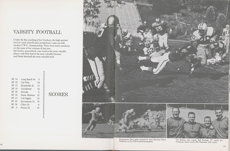 Varsity Football From The 1959 Franciscan Yearbook Page